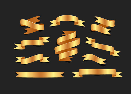 Illustrazione per Set of hand drawn gold satin ribbons on blacke background isolated. Flat objects for your design - Immagini Royalty Free