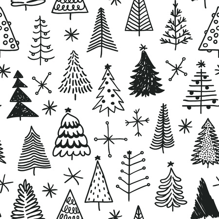 Illustration pour Seamless pattern with hand drawn Christmas tree. Abstract doodle drawing winter wood. Vector art Holidays illustration - image libre de droit