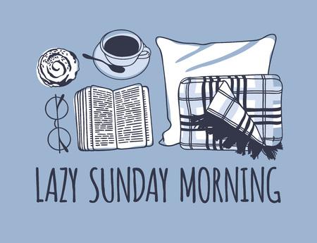 Illustrazione per Hand drawn morning fashion illustration. Creative ink art work. Actual vector drawing. Cozy set, plaid, book, coffee - Immagini Royalty Free