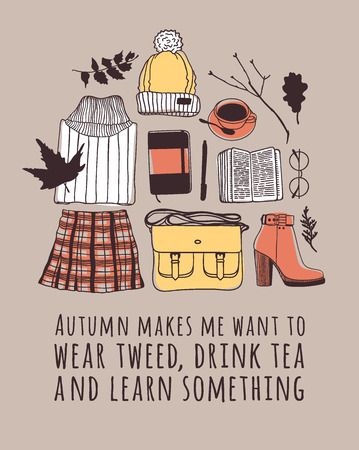 Illustrazione per Hand drawn Autumn illustration and lettering. Creative ink season art work with text AUTUMN MAKES ME WANT TO WEAR TWEED, DRINK TEA AND LEARN SOMETHING. Actual vector quote about Fall - Immagini Royalty Free