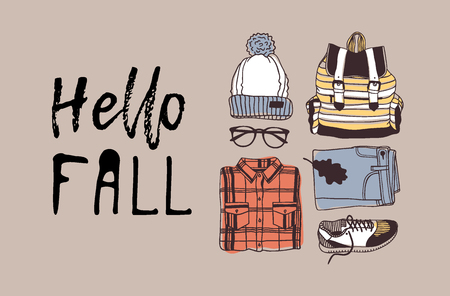 Illustrazione per Hand drawn Autumn illustration and lettering. Creative ink season art work with text HELLO FALL. Actual vector quote about Fall - Immagini Royalty Free