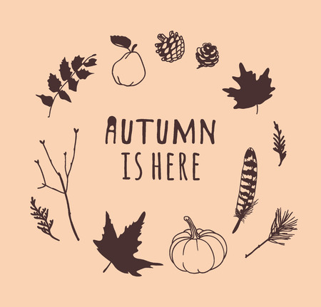 Illustrazione per Hand drawn Autumn illustration and lettering. Creative ink season art work with text AUTUMN IS HERE. Actual vector quote about Fall - Immagini Royalty Free