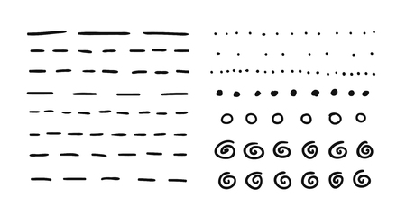 Illustration pour Hand drawn set of objects for design use. Black Vector doodle dotted lines on white background.  Abstract pencil drawing stripes. Artistic illustration grunge elements strokes - image libre de droit