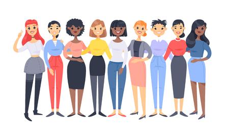 Ilustración de Set of a group of different women. Cartoon style characters of different races. Vector illustration caucasian, asian and african american people - Imagen libre de derechos
