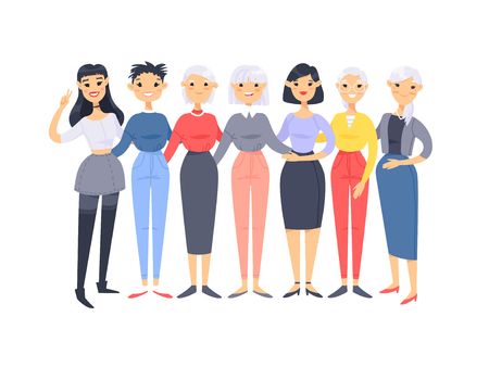 Illustration pour Set of a group of different asian american women. Cartoon style characters of different ages. Vector illustration people - image libre de droit