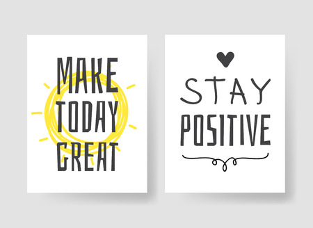 Illustrazione per Set of 2 cards with Hand drawn illustration and text. Positive quote for today and doodle style element. Creative ink art work. Actual vector drawing - Immagini Royalty Free