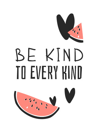 Ilustración de Hand drawn set of vegetables, fruits and eco friendly words. Vector artistic doodle drawing food and Vegan quote. Vegetarian illustration and positive text BE KIND TO EVERY KIND - Imagen libre de derechos