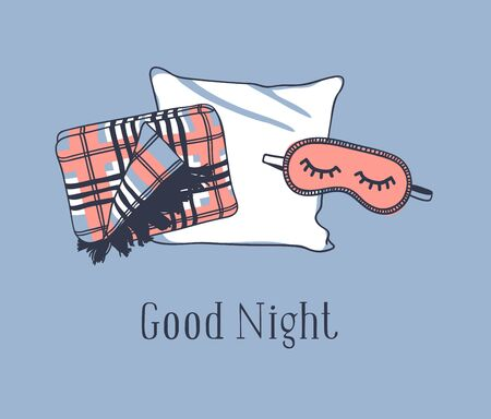Photo pour Hand drawn objects about Sleep Routines and text.Vector Cozy Illustration. Creative artwork. Set of doodle pillow and quote  GOOD NIGHT - image libre de droit