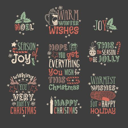 Illustration pour Hand drawn Christmas things on dark background. Creative ink art work. Actual vector doodle drawing and Holidays text - image libre de droit