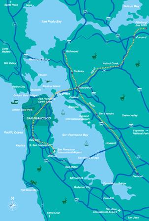 Illustration pour San Francisco Bay Area map - image libre de droit