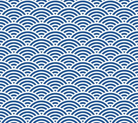Ilustración de Blue and dark blue Japanese style wave pattern - Imagen libre de derechos
