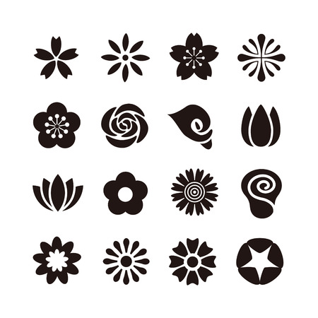 Various kind of flower icon, black and white illustration