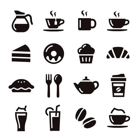 Illustration pour Cafe elements illustration coffe, tea and sweets - image libre de droit