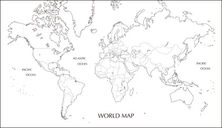 Illustration pour World map, Mercator projection blank map with boundary line - image libre de droit