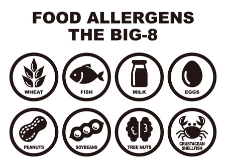 Illustration pour Eight major food allergens, wheat, fish, milk, eggs, peanuts, soybeans, tree nuts and crab - image libre de droit