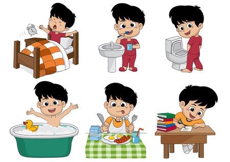 Illustration for Set of daily cute boy,boy wake up,brushing teeth,kid pee,taking a bath,breakfast,kid writhing.vector and illustration. - Royalty Free Image