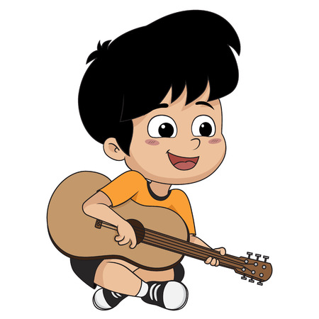 Illustration pour The kid played guitar. The music makes kids concentrate and help to the potent drugs.vector and illustration. - image libre de droit