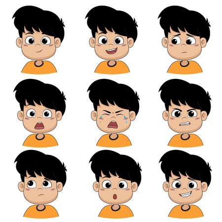 Illustration pour Set of emotion cute boy ,smile, happy, laugh, sad, surprise, cry, tears, upset, angry, thinking,sorry.Vector and illustration. - image libre de droit