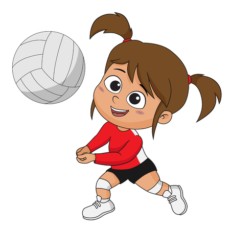Illustration pour Girl playing volleyball with her friends.Vector and illustration. - image libre de droit