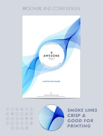 Illustration pour Layout cover design, brochure template, magazine, flyer, booklet or report in A4 blue color. - image libre de droit
