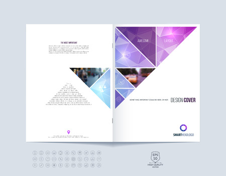 Ilustración de Brochure template layout, cover design annual report, magazine, flyer or booklet in A4 with pink purple dynamic triangular geometric shapes on polygonal background. Vector Illustration. - Imagen libre de derechos