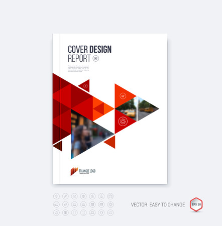 Illustration for Brochure template layout, cover design annual report, magazine, flyer or booklet in A4 with red dynamic triangular geometric shapes on polygonal background. Vector Illustration. - Royalty Free Image