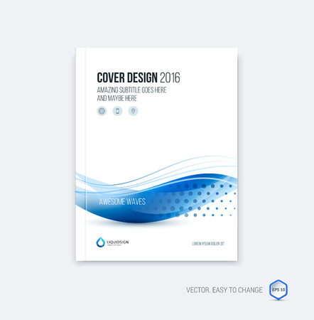 Foto de Abstract cover design, business brochure template layout, report, magazine or booklet in A4 with blue dynamic blurred waves, soft lines and shapes. Vector. - Imagen libre de derechos