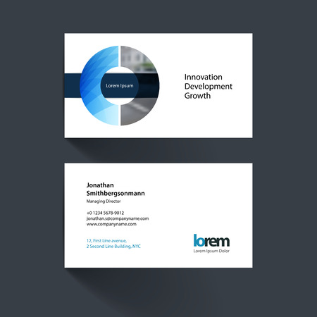 Illustration for Vector business card template with circle geometric shape and overlap effect for business books with industrial and science concept. Simple and clean design. Creative corporate identity layout. - Royalty Free Image