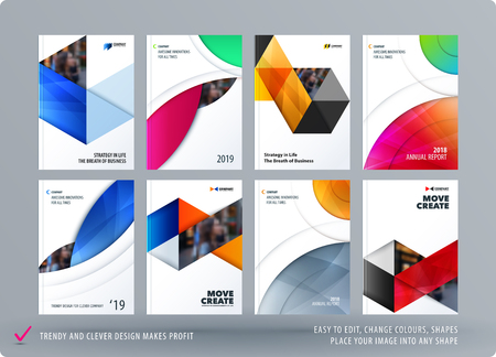 Illustrazione per Brochure design round template. Colourful modern abstract set, annual report with circle for branding. - Immagini Royalty Free