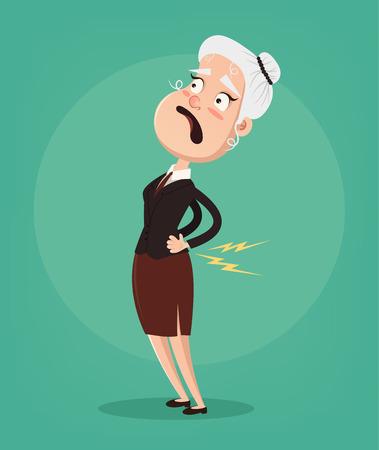 Foto de Old woman character have spine pain and problem. Vector flat cartoon illustration - Imagen libre de derechos