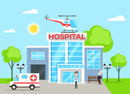 Illustration pour Hospital building concept with doctor character. Vector flat cartoon illustration - image libre de droit