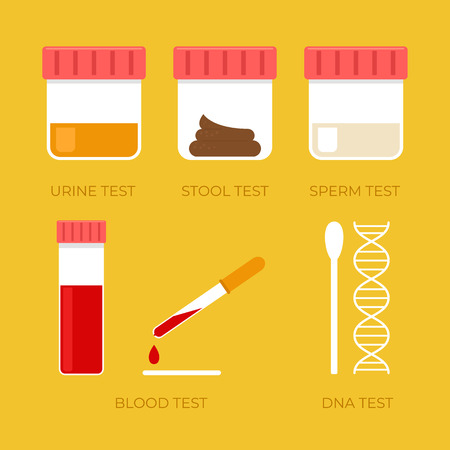 Illustration pour Human biology tests isolated sperm blood urine stool DNA icon set. Vector flat cartoon illustration - image libre de droit