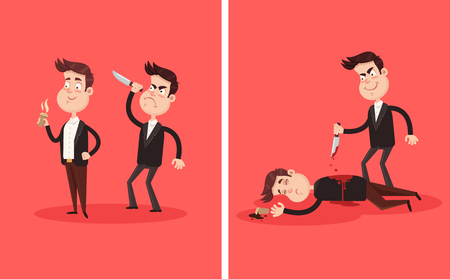 Illustration pour Angry bad employee colleague friend murder killing stabbing with knife boss businessman partner character in his back behind. Crime betrayal accident business career competition concept. Dead bloody body corpse. Vector flat graphic design cartoon illustration - image libre de droit