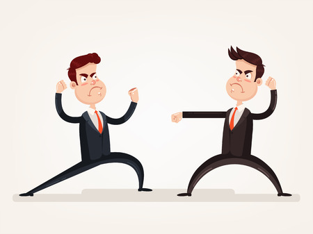 Ilustración de Angry aggressive businessman office worker quarreling discussion and fight. Teamwork. Vector flat cartoon design graphic isolated illustration - Imagen libre de derechos