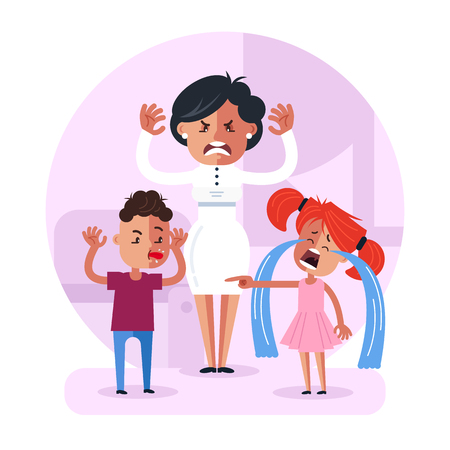 Illustrazione per Little child baby brother and sister. Family relationship problem concept. Vector flat cartoon design graphic isolated illustration - Immagini Royalty Free