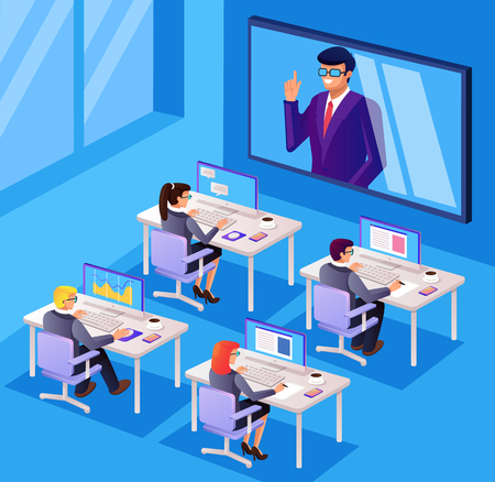 Illustration pour Monitor tv internet business people office workers character manager discussion Online seminar technology. Vector flat cartoon graphic design isolated illustration - image libre de droit