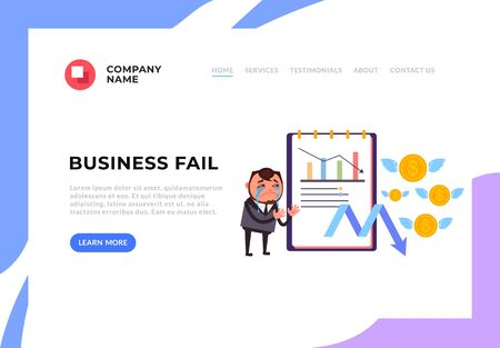 Illustrazione per Businessman office worker crying about business fail. Unsuccessful business banner poster concept. Vector design graphic flat cartoon illustration - Immagini Royalty Free