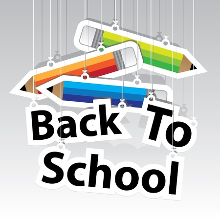 Photo for Back to School Paper Hanging Sign with Pencil paper hanging sign background -Vector - Royalty Free Image