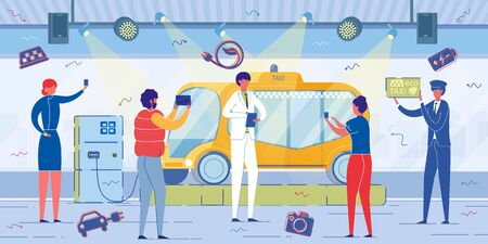 Ilustración de Alternative Power Sources and Ecological Public Urban Transport Technology. Reporters, People Cartoon Characters Cover High-tech Electric Taxi Appearance in Press. Flat Vector Illustration. - Imagen libre de derechos
