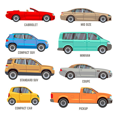 Illustration for Car types vector flat icons. Automobile models icons set - Royalty Free Image