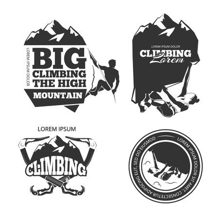 Illustration pour Vintage mountain climbing vector logo and labels set. Sport climbing, emblem climbing, hobby climbing illustration - image libre de droit