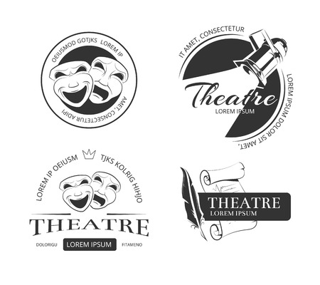 Illustration pour Vintage vector theatre labels, emblems, badges and logo. Classical theatrical mask, spotlight theatre, performance theatre  sign, emblem theatre illustration - image libre de droit