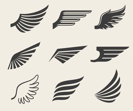 Illustration for Wings vector icons set. Wing set, icon wing, feather wing bird illustration - Royalty Free Image