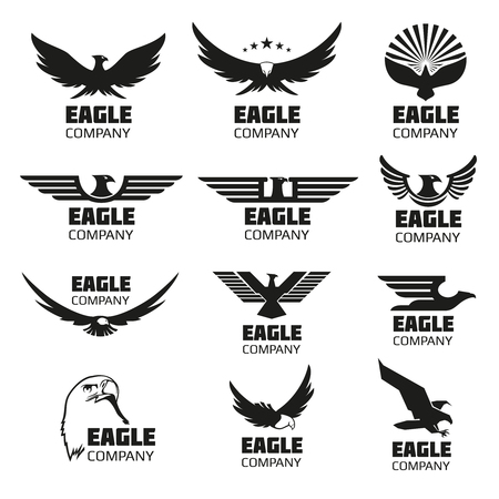 Illustration pour Heraldic symbols with eagle silhouettes. eagle emblems or eagle set for company or brand with eagle bird - image libre de droit