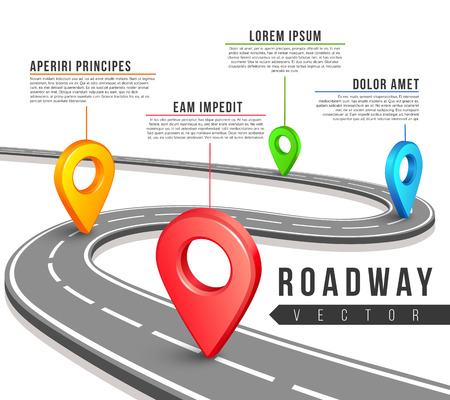 Illustration pour Street road map for vector business infographics design. Road map infographic and information data text for web sites, presentations and brochures - image libre de droit