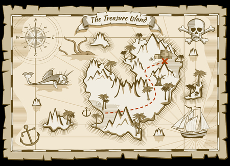 Illustration for Treasure pirate hand drawn vector map. Pirate map with ship and navigation to treasure. Island way treasure map illustration - Royalty Free Image