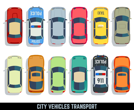 Ilustración de Cars top view vector flat city vehicle transport icons set. Automobile car for transportation, auto car icon illustration - Imagen libre de derechos