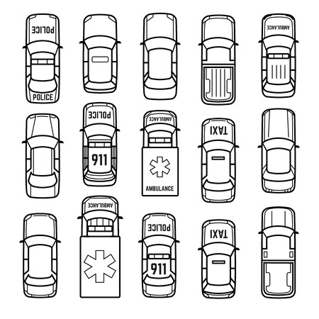 Illustration pour Cars top view thin line icons. Set of model car sedan, taxi and ambulance car in linear style illustration - image libre de droit