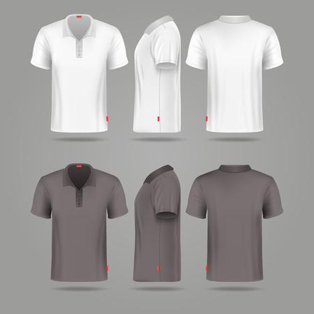 Illustration pour White black mens polo t-shirt front back and side views mockups. Template fashion tshirt for sport illustration - image libre de droit