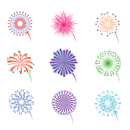 Illustration for Fireworks display vector set. Pyrotechnics for event celebration new year illustration - Royalty Free Image